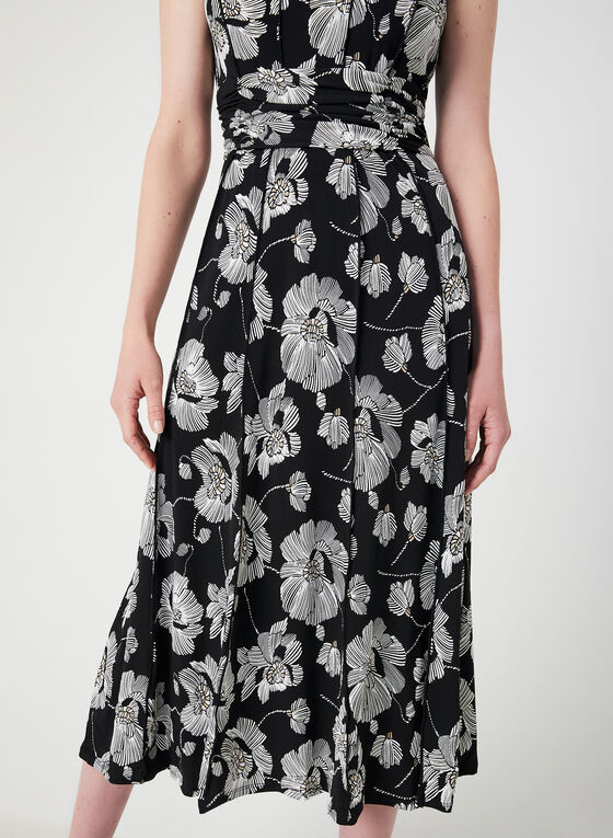Floral Print Sleeveless Dress, Black