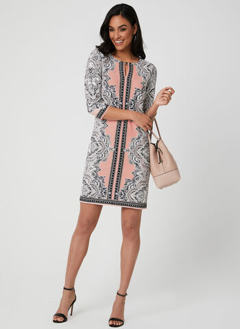Paisley Print Jersey Dress, Pink,  elbow sleeves, spring 2019