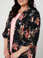 Floral Print Open Front Jacket, Black, hi-res