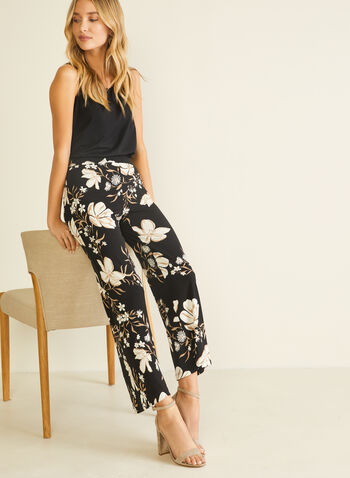 Floral Print Wide Leg Pants, Black,  pants, pull-on, wide leg, floral, modern, spring summer 2020