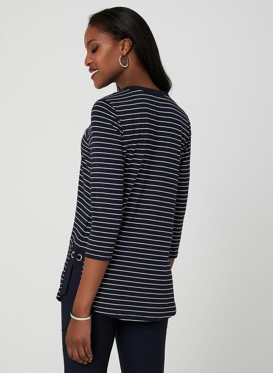 Stripe Print 3/4 Sleeve Top, Blue, hi-res