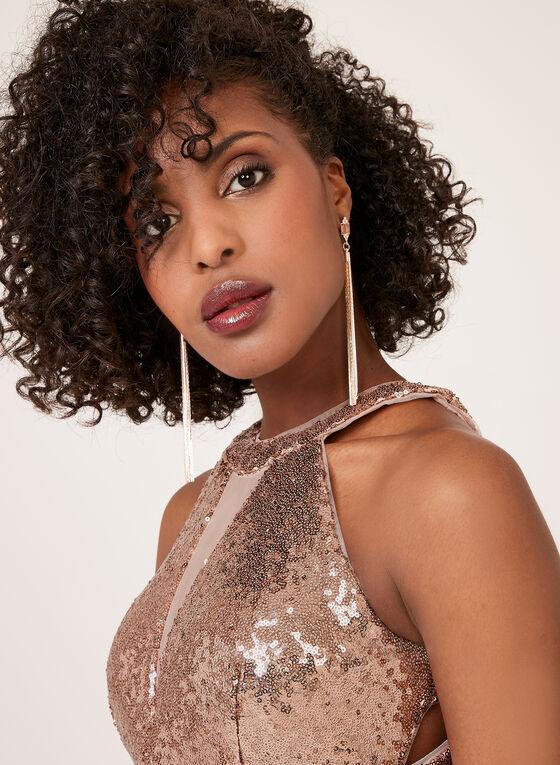 Cleopatra Illusion Neck Sequin Dress, Pink, hi-res
