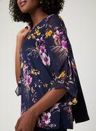 Floral Print Chiffon Blouse, Blue, hi-res