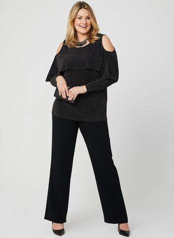 Cold Shoulder Glitter Top, Black, hi-res