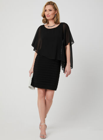 Jersey Shutter Dress, Black, hi-res