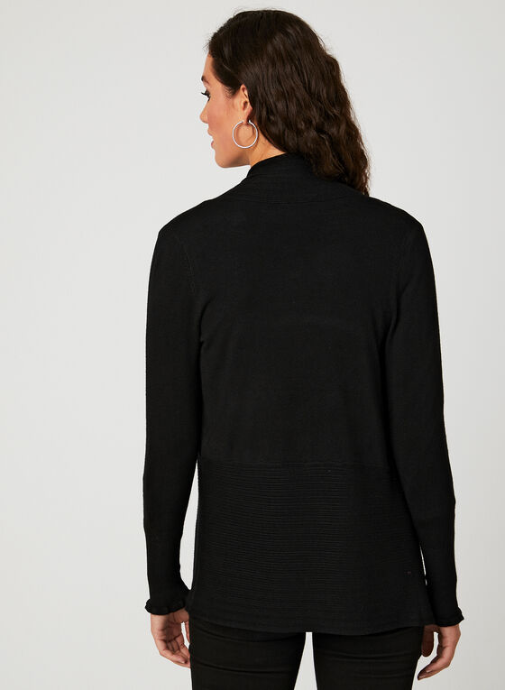 Pointelle Knit Cardigan, Black, hi-res