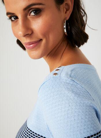 Colour Block Novelty Stitch Sweater, Blue, hi-res