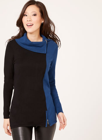 Cowl Neck Two Tone Knit Sweater, Blue, hi-res