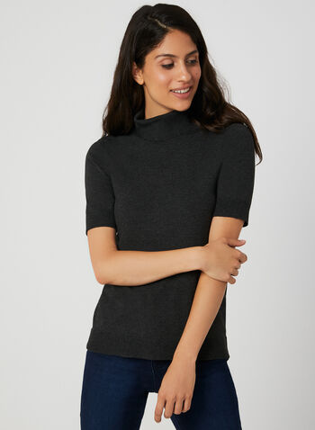 Short Sleeve Knit Top, Grey, hi-res,  knit, top, short sleeves, cowl neck, fall 2019, winter 2019