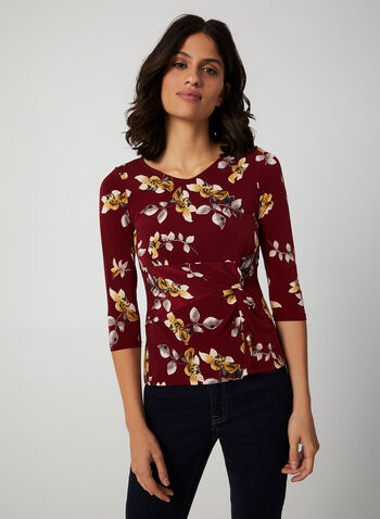 Floral Print ¾ Sleeve Top, Red, hi-res,  canada, 3/4 sleeves, top, blouse, floral print, flower print, jersey, v-neck, stretch, fall 2019, winter 2019