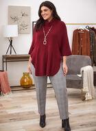Rib Knit Detail Poncho Sweater, Red