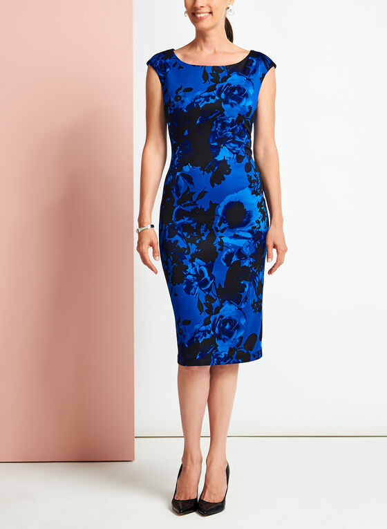 Floral Print Scuba Midi Dress, Blue, hi-res