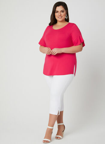 Ruffle Sleeve T-Shirt, Pink, hi-res,  bell sleeves, boat neck, jersey, spring 2019