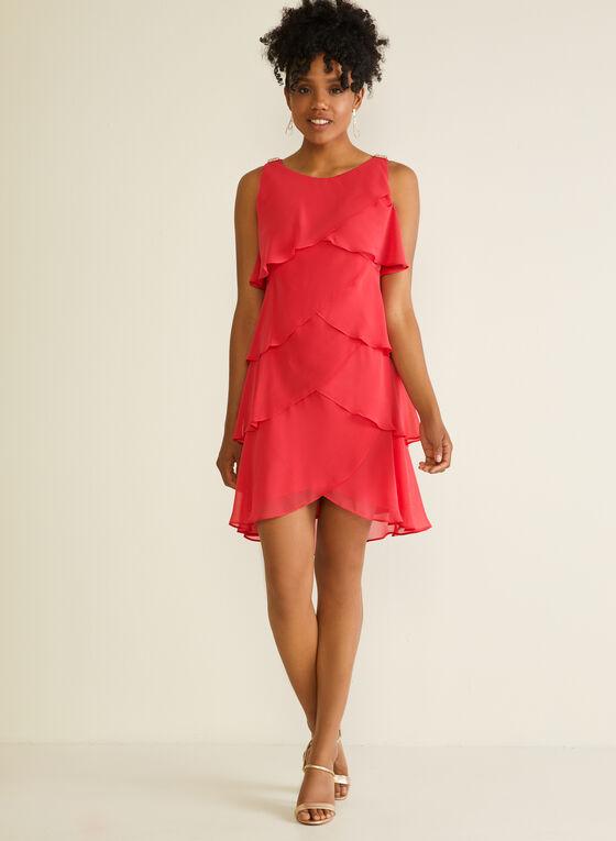 Tiered Sleeveless Dress, Red