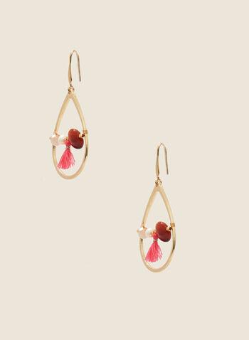Bead & Tassel Dangle Earrings, Off White,  earrings, teardrop, beads, tassel, spring summer 2020