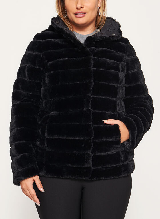 Nuage - Manteau réversible en fausse fourrure, Noir, hi-res