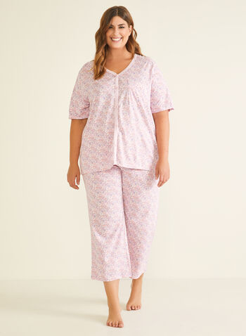 2-Piece Floral Pyjama Set, Grey,  pyjama, set, 2-piece, floral, buttons, capris, fall winter 2020