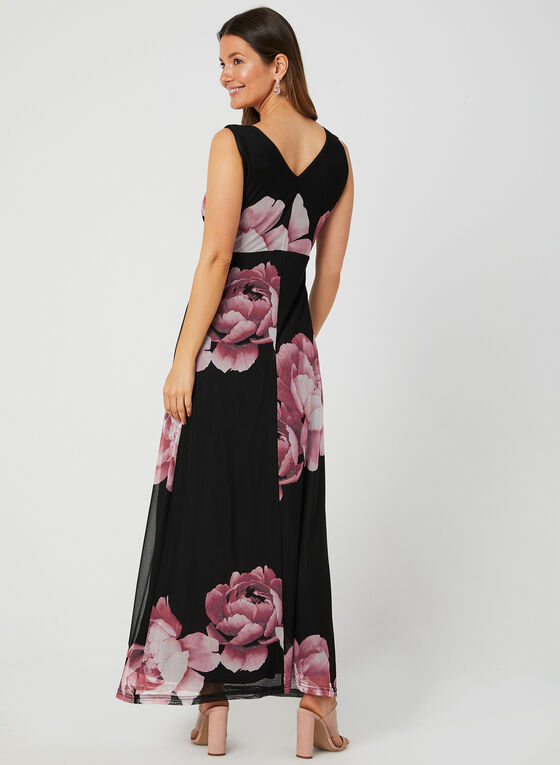 Nina Leonard - Robe fleurie en maille filet, Noir, hi-res