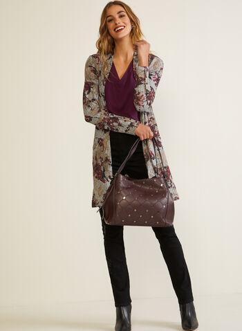 Haut ouvert en tricot à motif floral, Violet,  automne hiver 2020, haut, ouvert, manches longues, boutons, motif, fleurs, fleuri, floral, tricot, fait au Canada