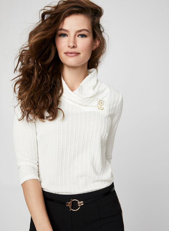 ¾ Sleeve Textured Top, Off White