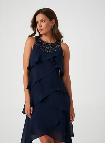 Sequin Detail Tiered Dress, Blue, hi-res,  fall winter 2019, chiffon fabric, tiered, cocktail dress
