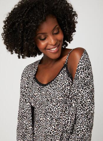 René Rofé - Leopard Print Nightshirt Robe Set, Black, hi-res