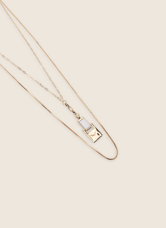Double Chain Long Necklace , White