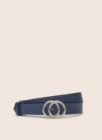 Double Buckle Leather Belt , Blue,  leather belt, leather, belt, spring 2020, summer 2020