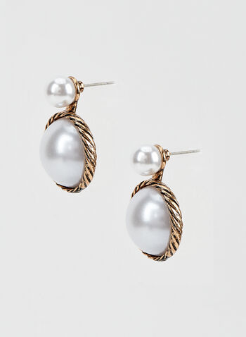 Two Tiered Pearl Earrings , Off White, hi-res