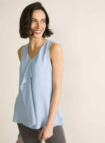 Sleeveless Ruffle Front Blouse, Blue,  blouse, top, sleeveless blouse, v-neck, ruffle blouse, muslin top, spring 2020, summer 2020