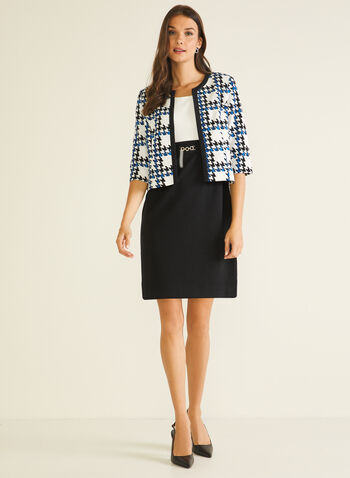 Dress & Houndstooth Jacket Set, Black,  day dress, jacket, set, houndstooth, waffle knit, sleeveless, open front, belted, fall winter 2020