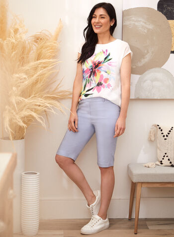 Floral Print Blouse, White,  spring summer 2021, tees, blouses, tops, boat neck, crew neck, layers, flowers, flowery, muslin,