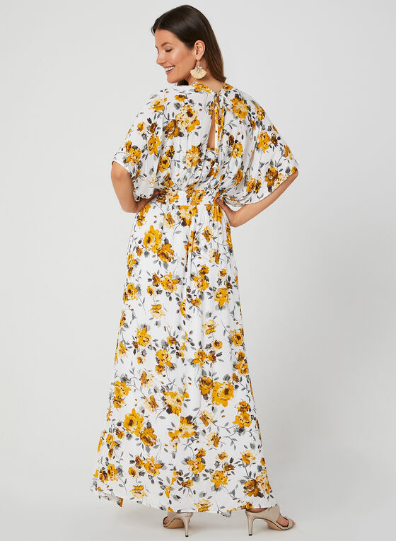 Floral Print Maxi Dress, White, hi-res