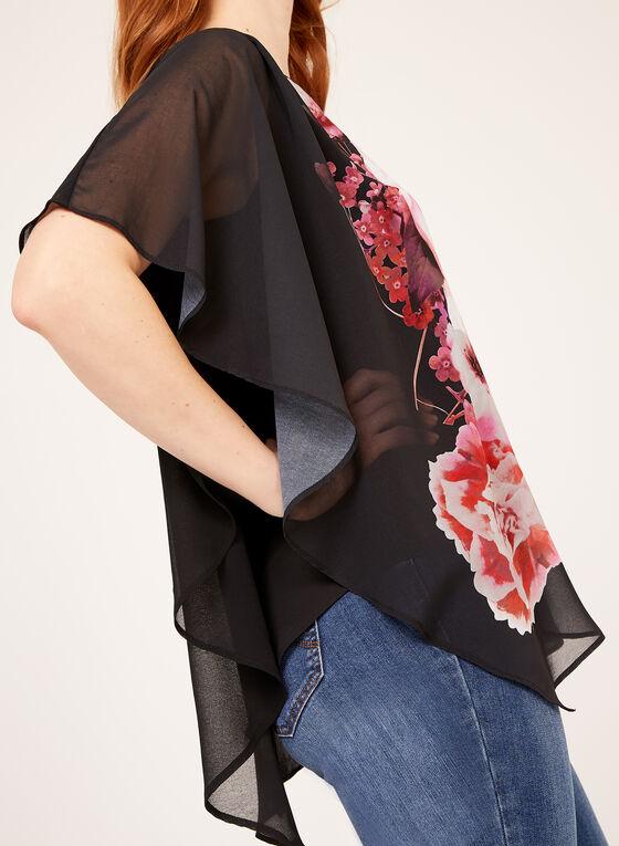 Floral Print Poncho Blouse , Black, hi-res