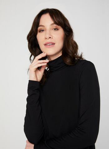 Turtleneck Long Sleeve Top, Black, hi-res,  turtleneck, long sleeves, fall 2019, winter 2019