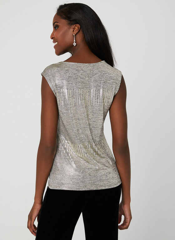Sleeveless Metallic Top, Grey, hi-res