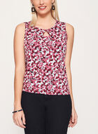 Dot Print Keyhole Neck Top, Red, hi-res