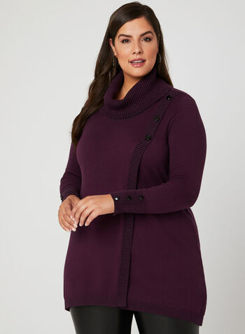 Faux Wrap Knit Tunic, Purple, hi-res