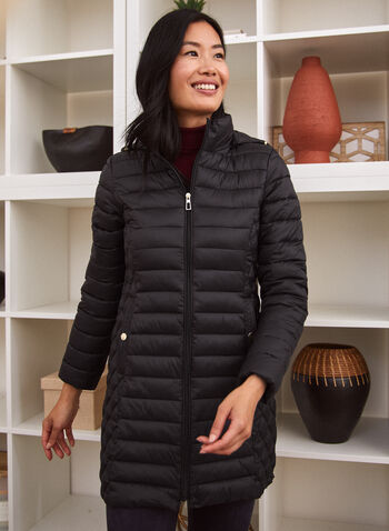 Recycled Quilted Vegan Down Coat, Black,  fall winter 2021, outerwear, coat, jacket, faux down, sofeelate, insulation, quilted, diamond, matte, stand neck, long sleeves, detachable hood, zipper, pockets, stopper, packable, water repellant, wind resistant, machine washable, recycled