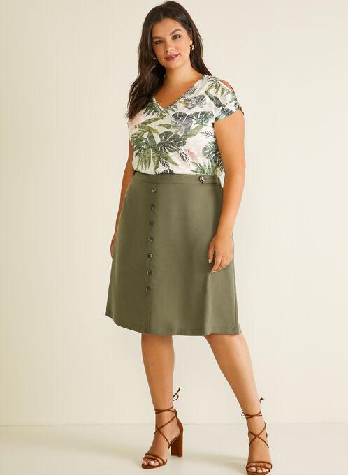 Button Detail Tencel Skirt, Green