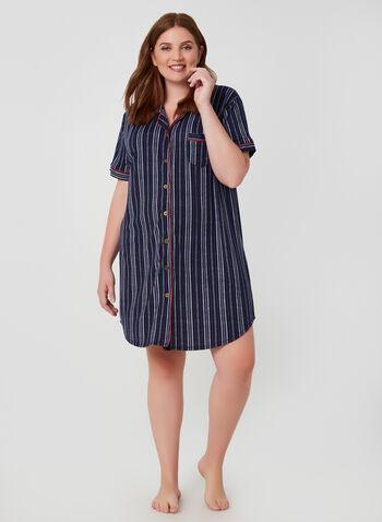 Claudel Lingerie - Chemise de nuit rayée, Bleu, hi-res,   boutonnée, boutonné, rayures, imprimé, motif, manches courtes, automne hiver 2019