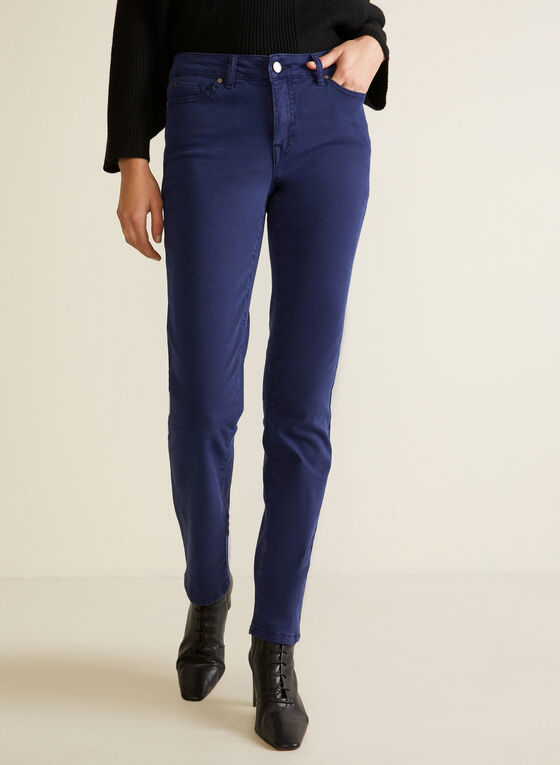Jeans coloré à jambe droite, Bleu