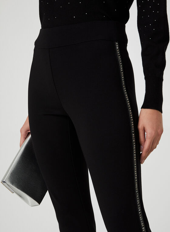 Pantalon coupe cité à bandes ornementées, Noir