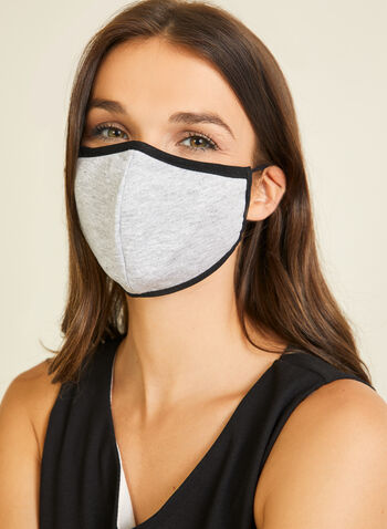 Monochrome Cotton Mask, Grey,  mask, monochrome, cotton, adjustable, washable, reusable, fall winter 2020
