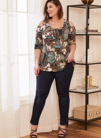 Paisley Print Top, Blue,  spring summer 2021, tops, paisley print, elbow sleeve, cold shoulder, bare shoulder, v neck