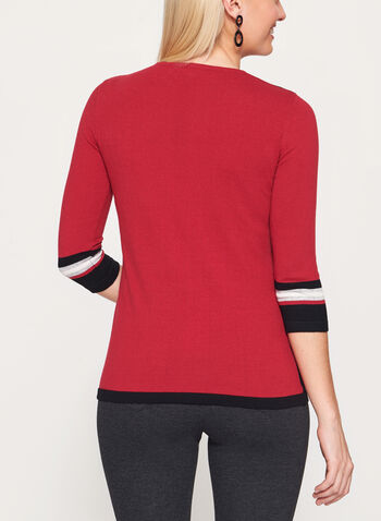 3/4 Sleeve Stripe Print Knit Sweater, Red, hi-res