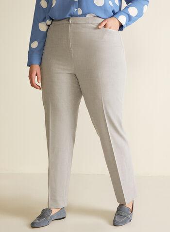Pantalon coupe signature à jambe droite, Gris,  pantalon, signature, jambe droite, pinces, printemps été 2020