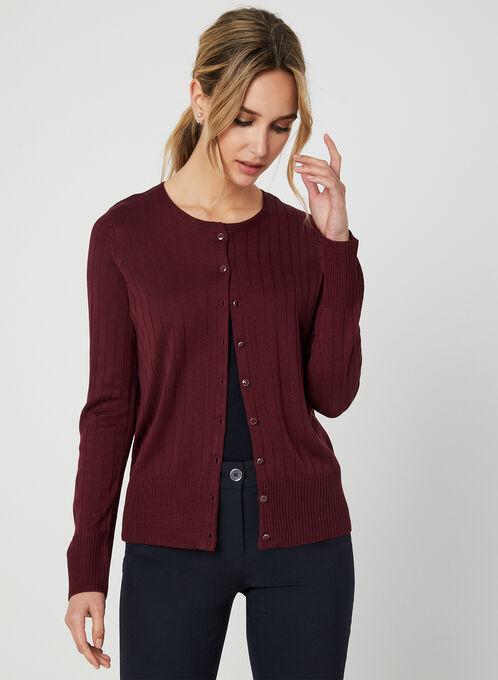 Cardigan en tricot texturé, Rouge, hi-res