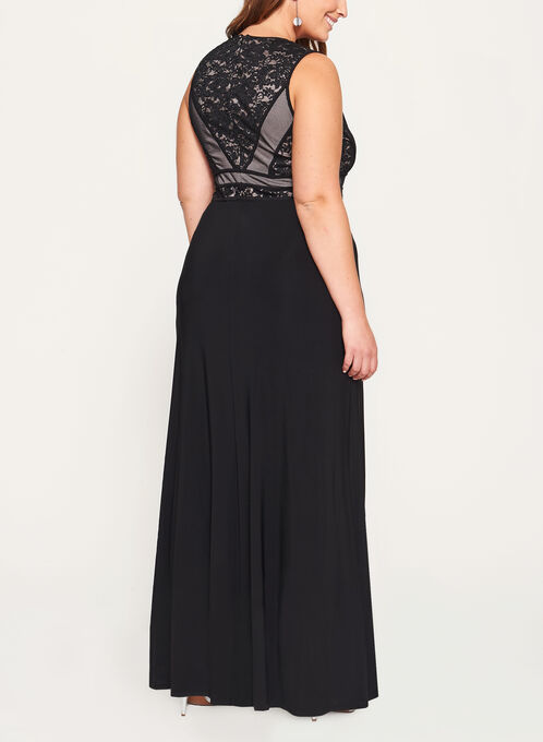 Glitter Lace Mesh Jersey Gown, Black, hi-res