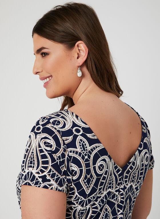 Robe à manches courtes et motif baroque, Bleu, hi-res